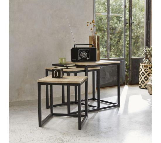Table basse gigogne NEVA industrielle Chêne/noir