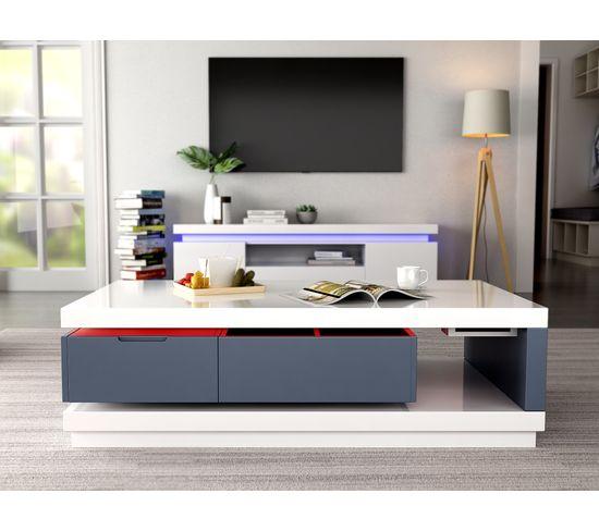 Table basse LED design FEVER Blanc et gris