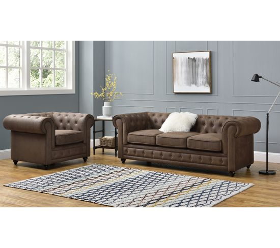Chesterfield 3 places CHESTER tissu vintage Marron