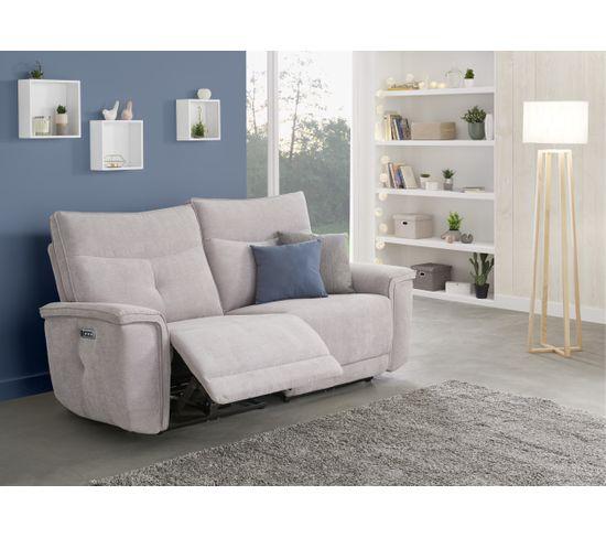 Canapé relax 3 places 3 moteurs ADAM tissu gris beige