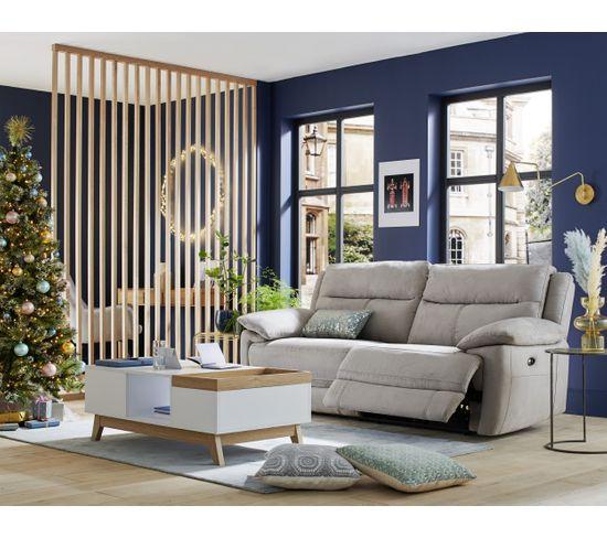 Canapé 3 places 2 relax électriques CURTISS II tissu gris clair