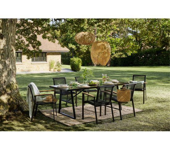 Table et 6 chaises jardin MONACO Noir