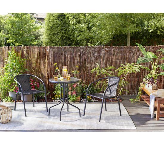 Table et 2 chaises jardin TULUM Noir