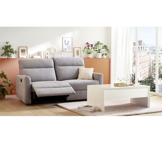 Canapé 3 places 2 relax manuels CORRANO tissu gris clair