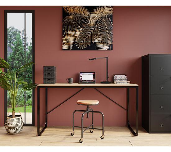 Tableau bois sculpté 90x80cm PALM CHIC Noir