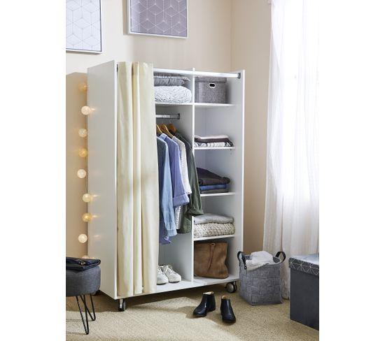 Kit dressing avec rideau L.100 cm MOVE blanc