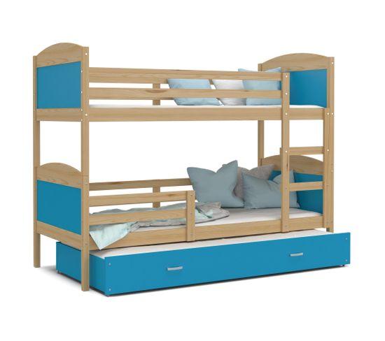 lit superposé 3 places mateo 90x190 pin  bleu livré avec
