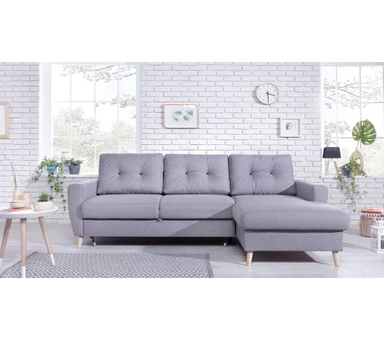 Canapé d'Angle Droit Convertible Avec Coffre STOCKHOLM Tissu Gris clair