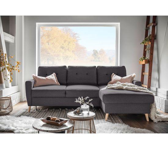 Canapé d'angle droit convertible avec coffre tissu Gris anthracite STOCKHOLM
