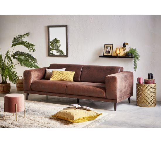 Canapé 3 places OSLO VINTAGE tissu gobi marron