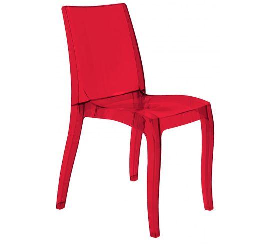 Chaise Design Transparente Rouge Athenes
