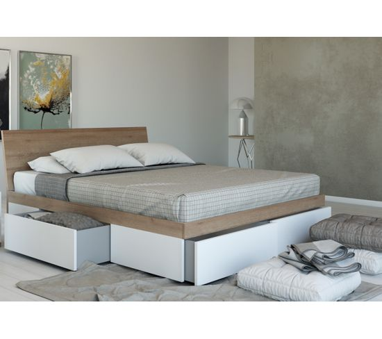 Lit avec rangements 140x200 cm ALIVA imitation chêne et blanc