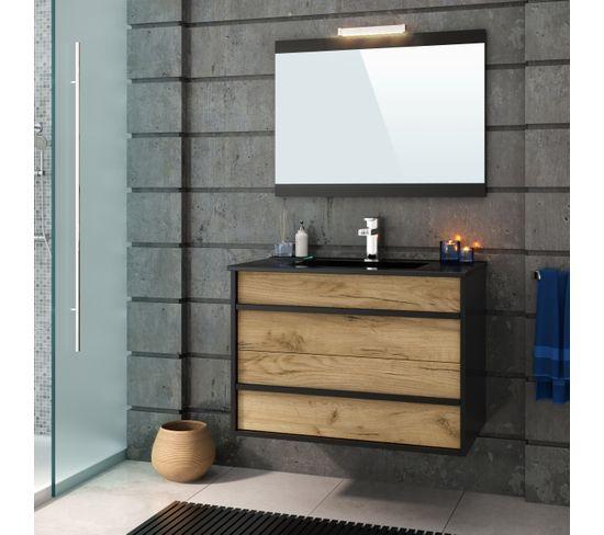 Meuble de salle de bain 80 cm KOH TAO Imitation chêne brut et noir