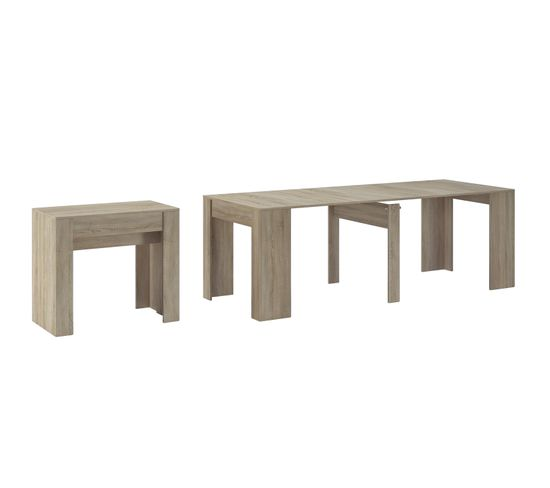 Table Console Extensible Chay Chêne Clair: Console Extensible Avec Rallonges,237 Cm, Chêne Clair