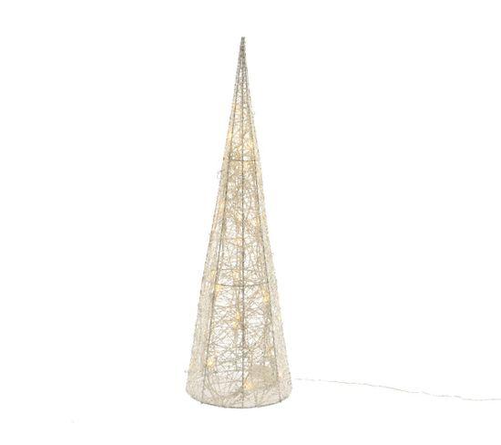 Cone LED fil coton H. 40 cm  Blanc chaud